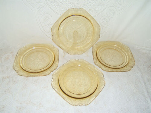 "Vintage Federal Glass Madrid Amber/Yellow 9"" Dinner Plates ~ Set of 4"