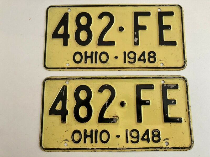 1948 Ohio License Plate PAIR Plates Ford Chevrolet Dodge Mercury Plymouth Buick