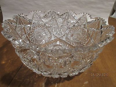 "GORGEOUS BRILLIANT AMERICAN CUT GLASS LARGE 10"" SERVING BOWL; OUTSTANDING PIECE"