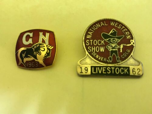 1962 NATIONAL WESTERN STOCK SHOW BADGE  DENVER CO Vintage Ranching Livestock Pin