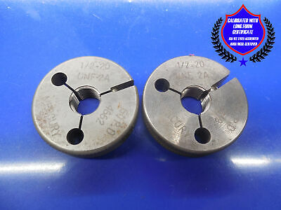 Certified Calibrated 12 20 Unf 2a Thread Ring Gages .50 Go No Go Pd .4662 .4619