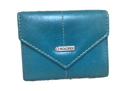 Rolodex Resilient Business Card Storage Case Faux Leather Turquoise
