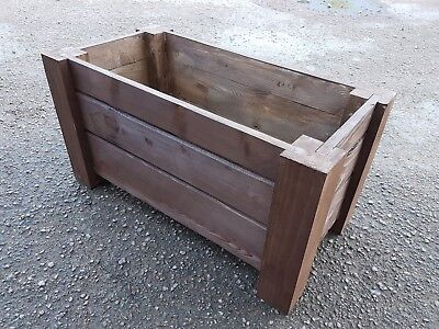 Wooden Rectangular Pot, Set of Two,  59 cm Long of Solid Wood, - Brown Color
