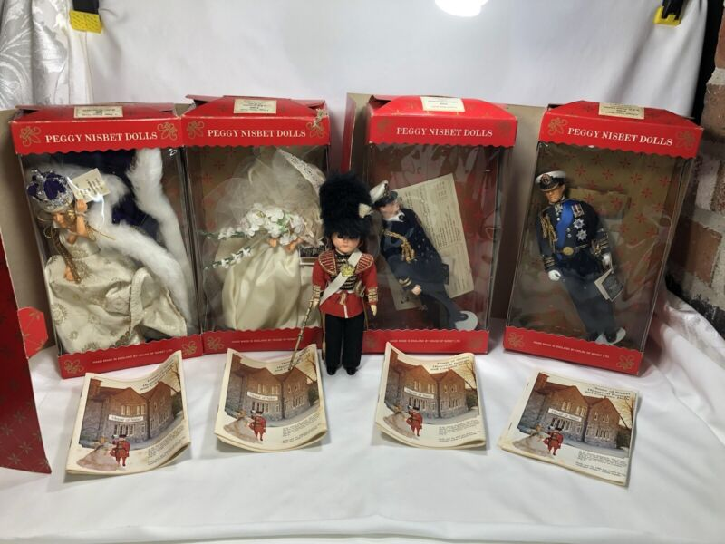 Vintage PEGGY NISBET English Doll Lot of 4 Queen Elizabeth Princess and Princes