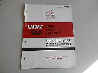 LUCAS Parts List for 1962 HILLMAN HUMBER SINGER SUNBEAM COMMER KARRIER
