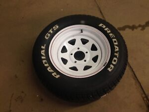 New w tags 235 60 15 white letter tire w 5 on 4 3/4 rim