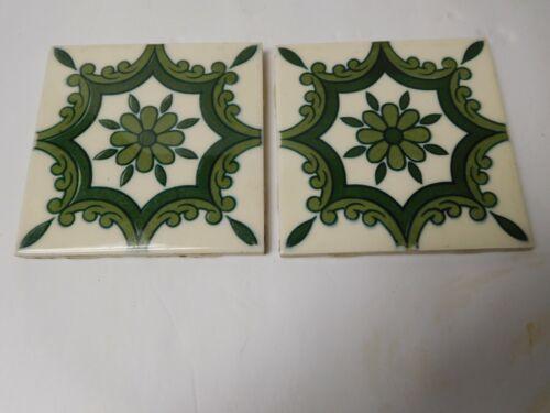 Vintage Pair Dal-Lite S-100 Y-87 Mexico Glazed Tiles Green