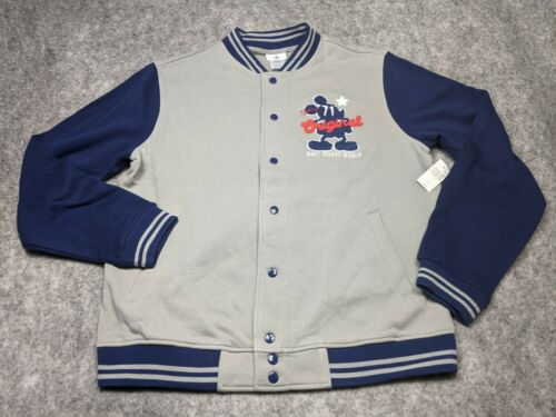 Disney Parks Mens Large Gray Blue Mickey Embroidered Varsity Jacket NWT
