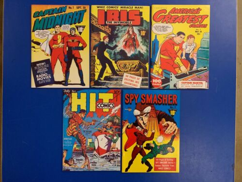 LOT OF 5 FLASHBACK GOLDEN AGE COMIC REPRINTS CAPTAIN MARVEL SHAZAM + MORE