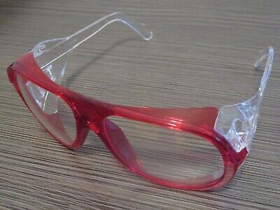 Arriva Monitor Clear Lens Red Retro Aviator Safety Glasses Side Shields