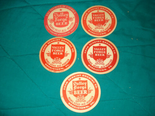 5 Valley Forge Beer Brewery Coasters Original & Vintage Breweriana!!
