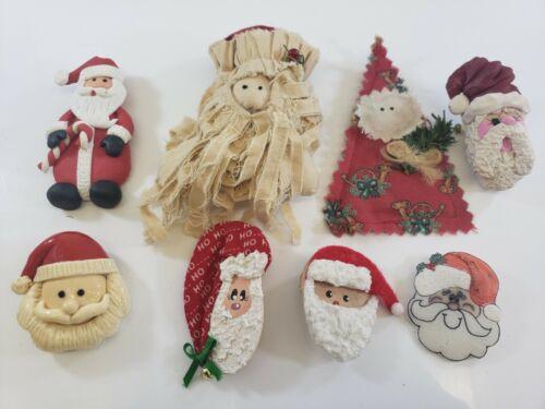 Vintage Christmas  Brooch Lot Handmade  Clay Polymer Fabric Wood Santa Claus