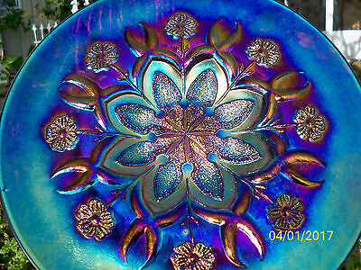 Dugan Wishbone & Spades Electric Purple Carnival Glass Chop Plate Blasting Color