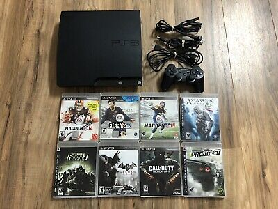 Sony Playstation 3 Slim Console 120GB PS3 Bundle Lot 8 Games Tested! Cod Madden!