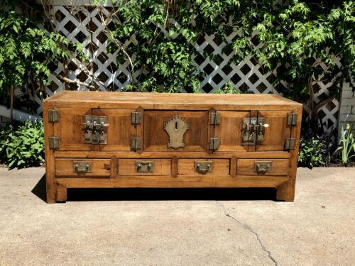 Antique Chinese Oriental Low Kang Type Cabinet 1800