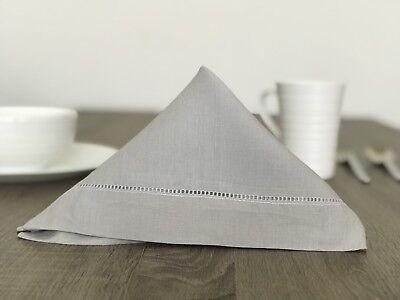 18 Inch Hemstitch Grey Gray Luxury Linen Cloth Dinner Lunch Napkin Set Of 4 18 Inch Napkin