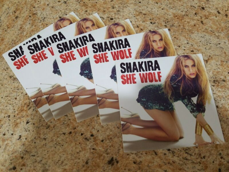 Shakira She Wolf sticker - Lot of 5 promotional stickers -  4 x 4