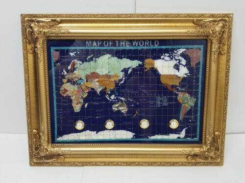 Precious Gemstone World Map Globe Mother Pearl Lapis Lazul Pietra Dura Brand New