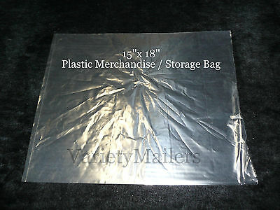 18 Large 15x 18 Clear Plastic Merchandise Storage Bags 1.5 Mil Quality