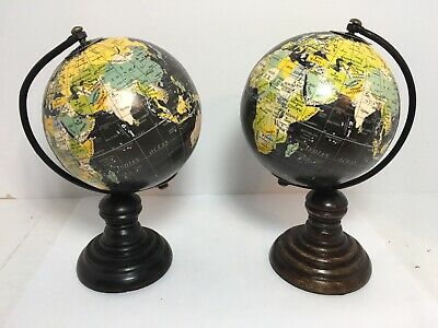 Set Of 2 Mini Wood World Globes 7 Home Office Desk