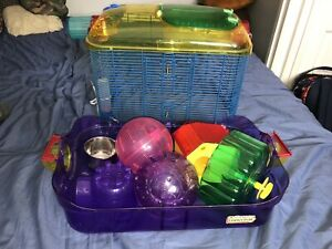 Kaytee hamster cage, 2 balls, wheel, and house