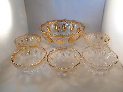 EAPG Clear Glass Berry Bowl Set, New Jersey Pattern, U.S. Glass, Gold Trim Gold Berry Bowl