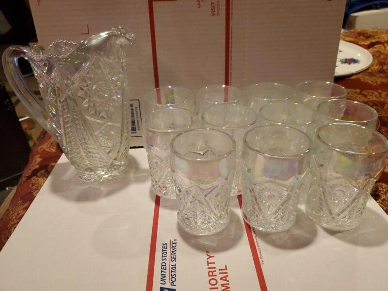 """Vintage Pressed Carnival Glass Hobstar 7"""" Pitcher ~ 11 Glasses."""