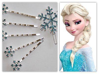 Haarspangen Frozen Eiskönigin Elsa Schneeflocken Haarklammern Schmuck 6 Stk.