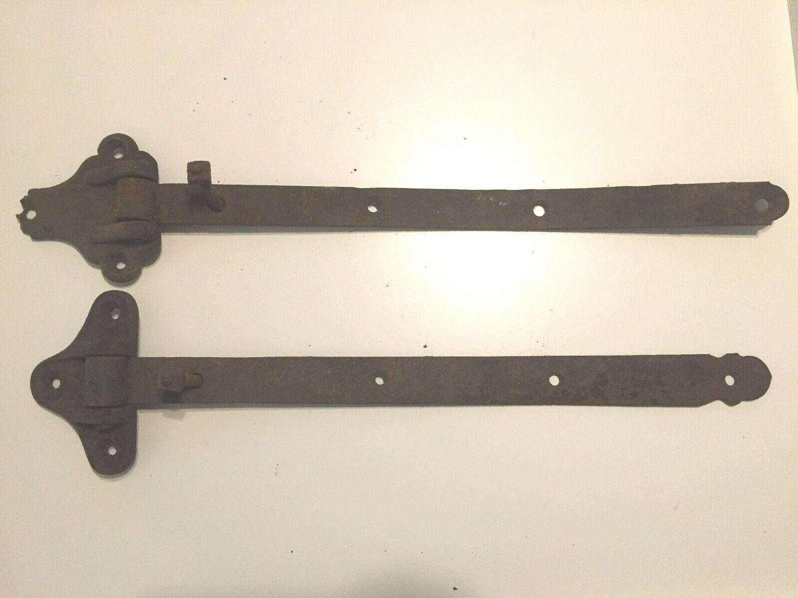 2 Antique Iron Hinges 20 Wide Straps - Barn Or Industrial Hardware - $39.99
