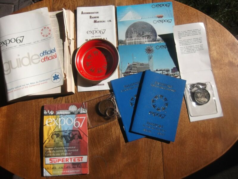 Expo 67 Man and His World LOT coaster- Key chains Passports, Maps, Book Cards