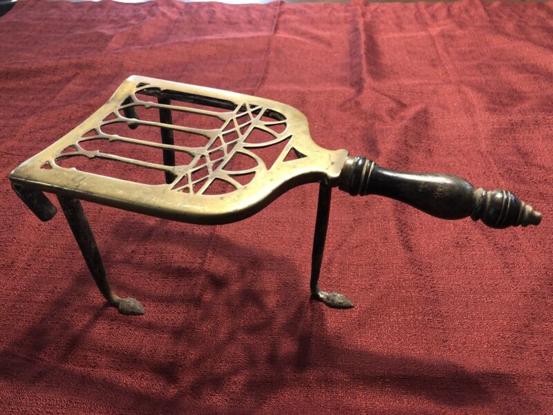 Antique Early English Brass Iron Trivet Fireplace Hearth Kettle Stand. Fast Ship