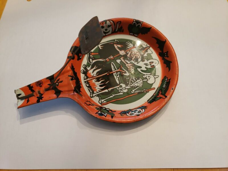 Vintage Halloween Noise Maker Frying Pan Witch Ghost Skeleton 1960's