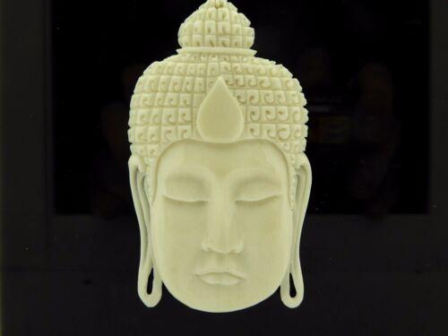 Handmade Carved Indonesian Serene Meditation Buddha Carved Bone Pendant Necklace