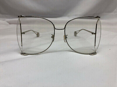Authentic New Gucci GG 0252 S 001 Silver Eyeglasses Sunglasses Clear (Gucci Butterfly Sunglasses)