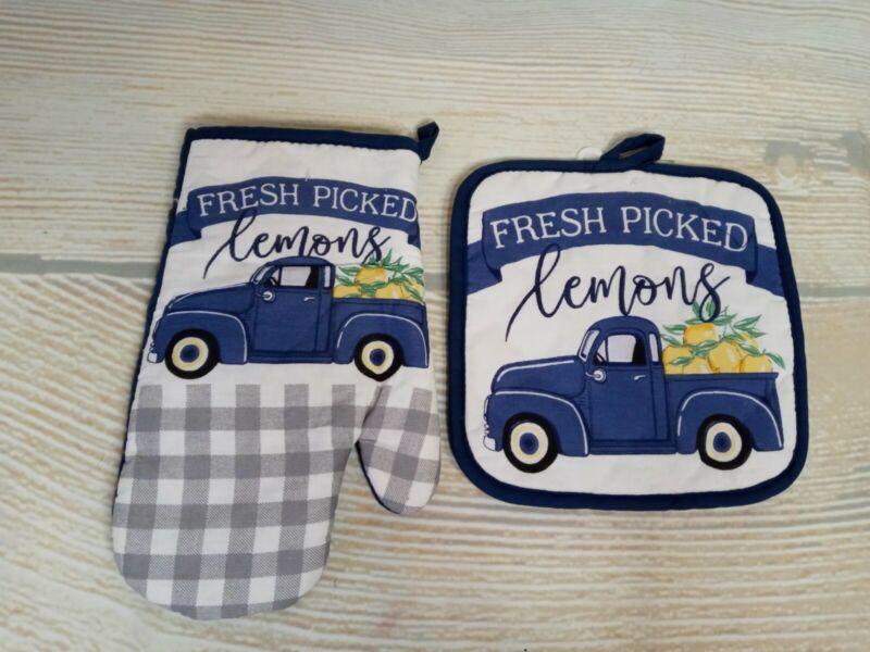 New! BLUE FARM TRUCK LEMONS Kitchen Pot Holder & Oven Mitt Set Farmhouse Summer