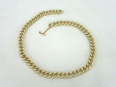 Vintage Costume Jewelry, Gold Tone, Textured, Chunky Link Chain Necklace NK221
