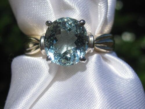 Aquamarine Ring 14K Two-Tone Ribbed Solitaire Aqua Fine Jewelry Size 6.75