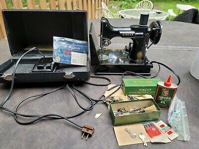 antique Singer Featherweight 221 Vtg Sewing Machine Portable Mini keysmanualwork