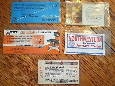 VINTAGE ADVERTISING INK BLOTTER LOT OF 5 DIFFERENT ITEMS