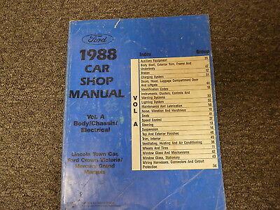 1988 Lincoln Town Car Sedan Body Chassis Electrical Shop Service Repair Manual