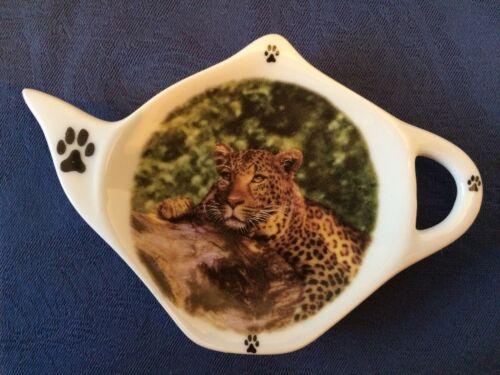 Leopard Wild Animals Lg. Cat New Handmade Ceramic-Porcelain Tea Bag Spoon Rest