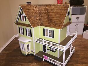 Huge wooden doll house with furniture & accessories