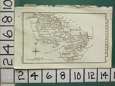 c1833 GEORGIAN MAP ~ DENBIGHSHIRE WREXHAM DENBIGH CONWAY ACTON