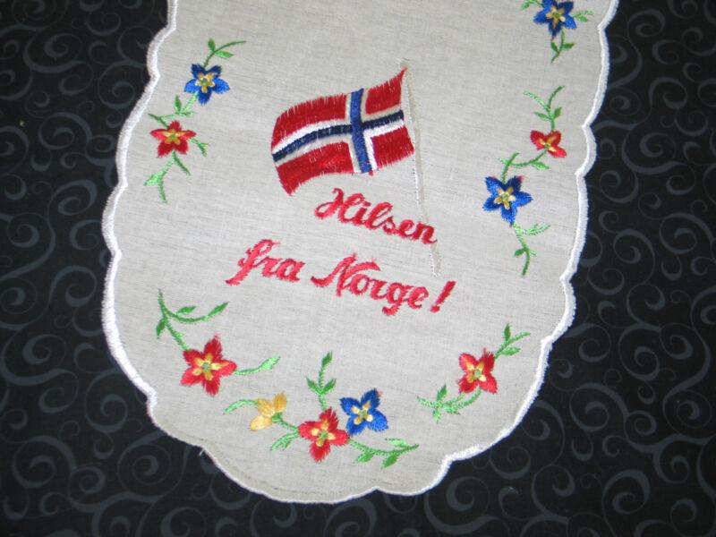 Delightful Vintage Norwegian Table Runner~HILSEN FRAU NORGE-Hello from Norway