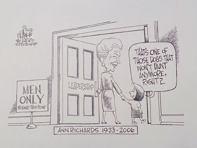 Rare 2006 Published Cartoon After Texas Governor Ann Richards Passed San Antonio