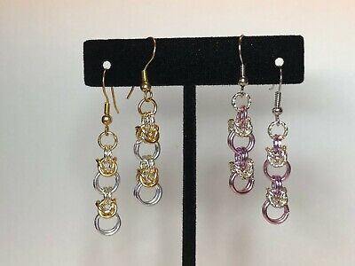 Classic Byzantine Chainmaille Earrings Gift Silver Gold Aluminum Chainmail
