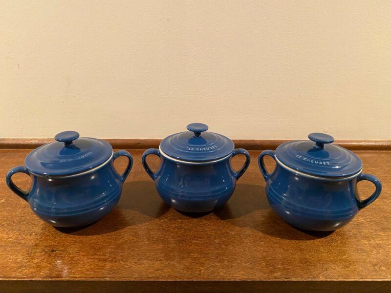 Set of 3 Le Creuset Stoneware 16oz Soup Bowl Mini Bean Pot with Lid Blue