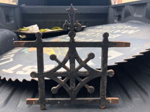 "c1870 cast iron roof cresting widows walk elements gothic detail 18.5"" h x 19.25"