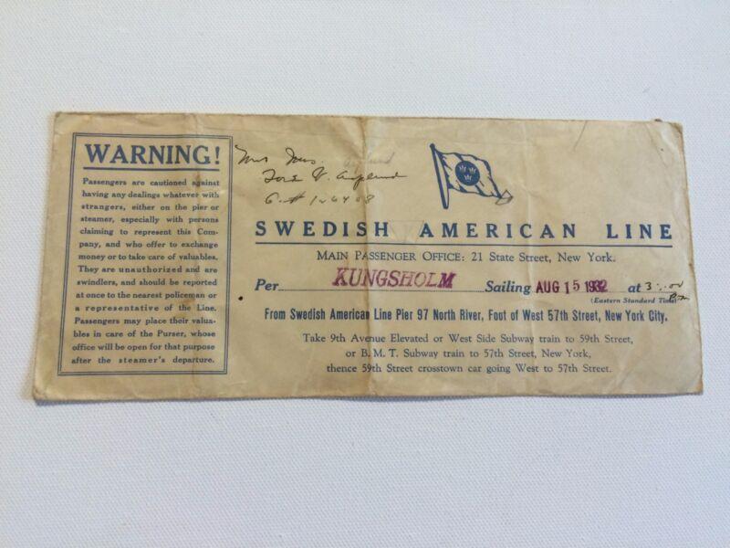 Swedish American Line (Kungsholm) AUG 15 1932 (Swedish American Line Pier 97)