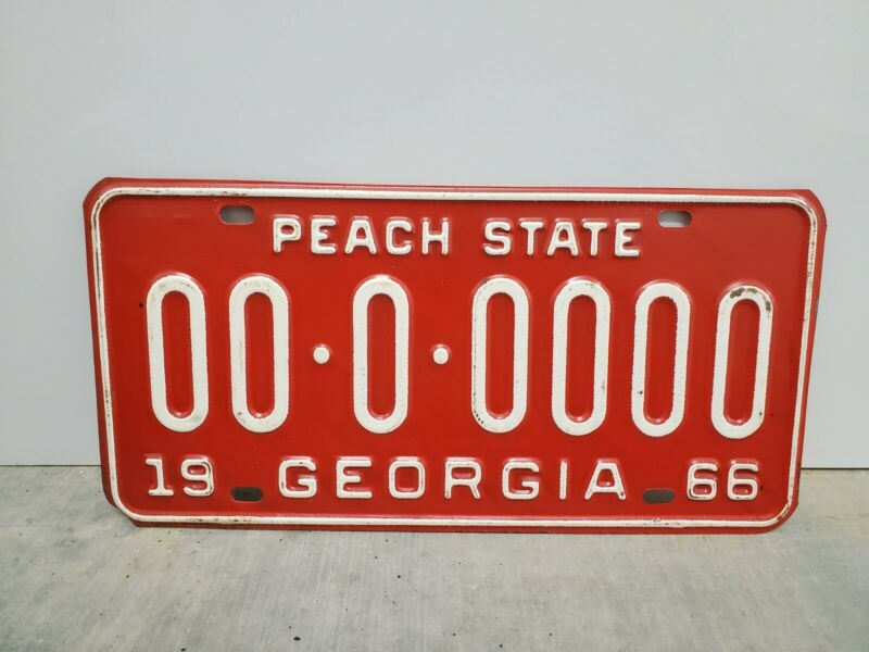 VINTAGE 1966 GEORGIA SAMPLE LICENSE PLATE 0-0000 ORIGINAL PAINT